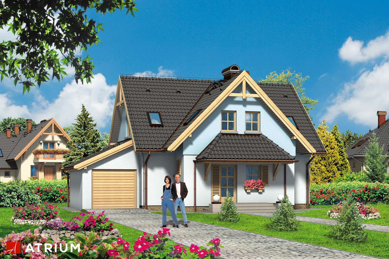 Projekty domów - Projekt domu z poddaszem BłęKITEK - wizualizacja 1