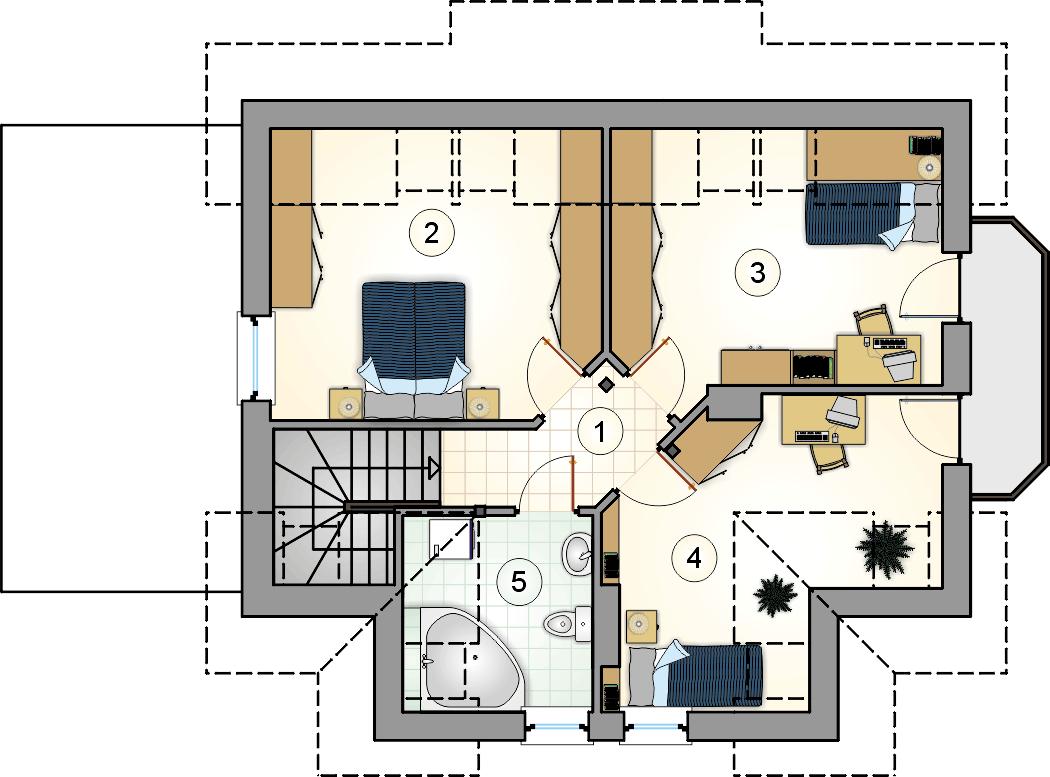 Rzut poddasza - projekt Błękitek