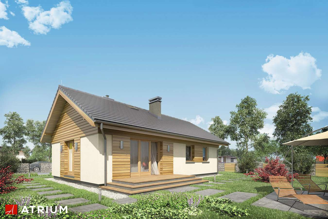 Projekty domów - Projekt domu parterowego AURORA MINI - wizualizacja 2