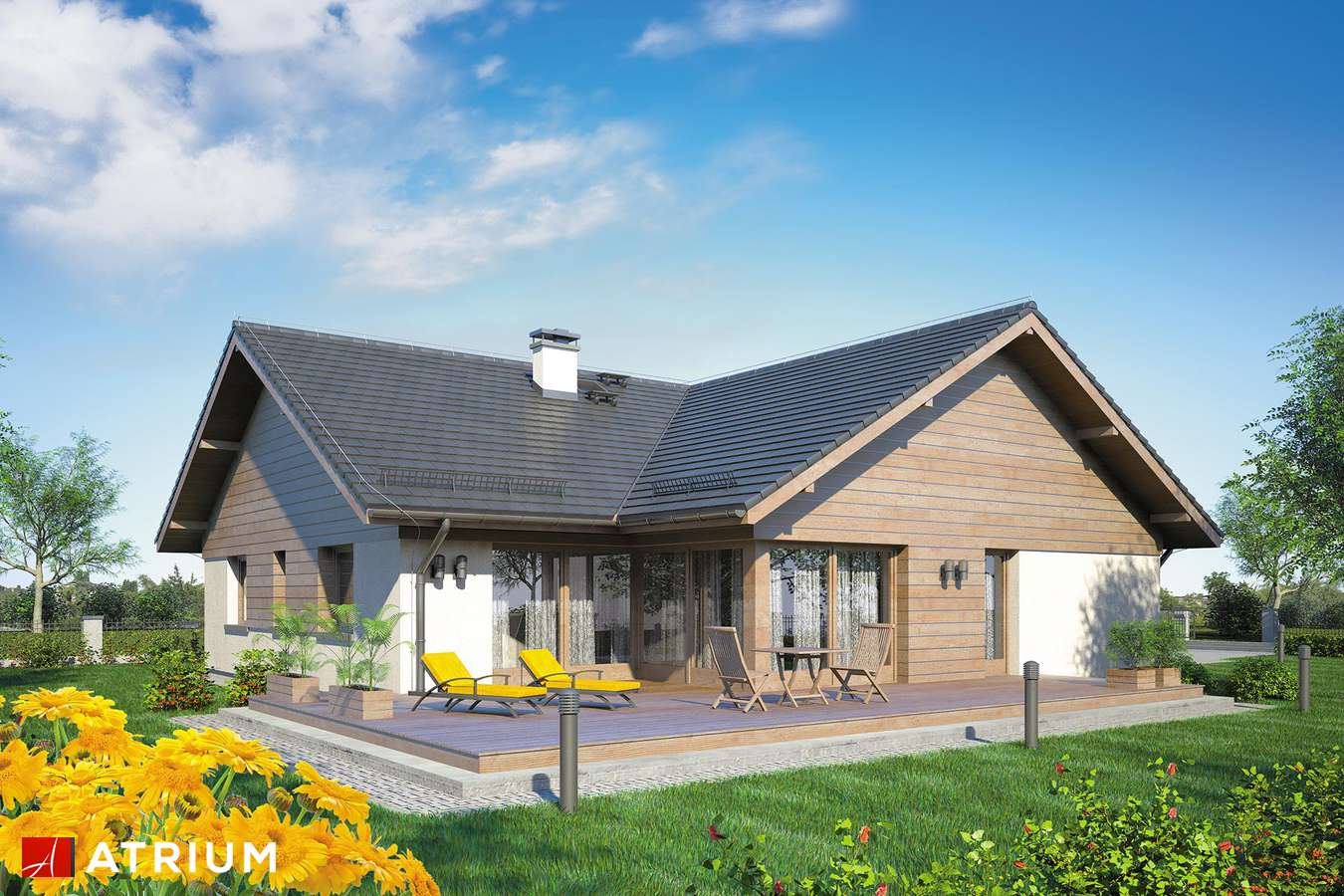 Projekty domów - Projekt domu parterowego WINSTON II SP - wizualizacja 2
