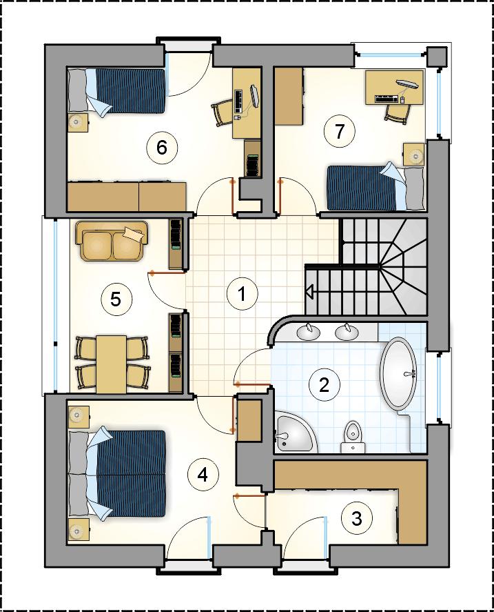 Rzut piętra - projekt Milano IV