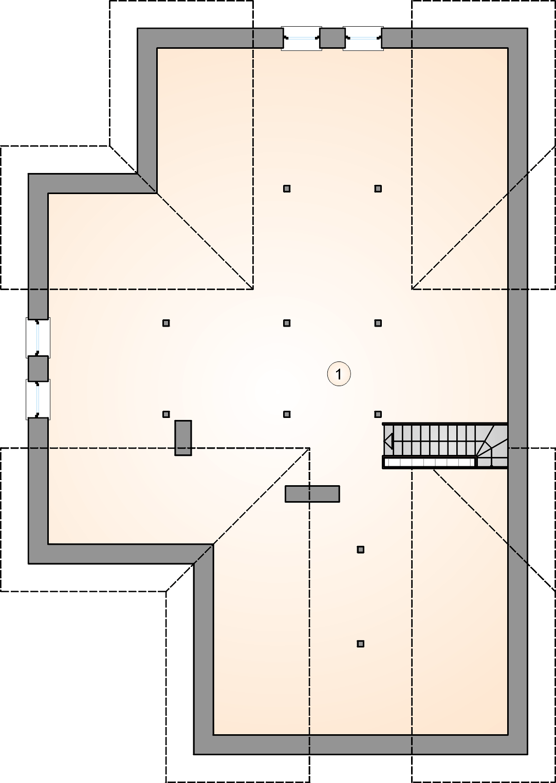 Rzut poddasza - projekt Oxford III