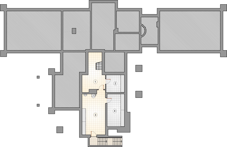 Rzut piwnicy - projekt Willa Panorama II
