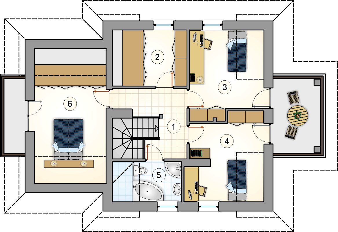 Rzut poddasza - projekt Smrek IV - wersja lustrzana
