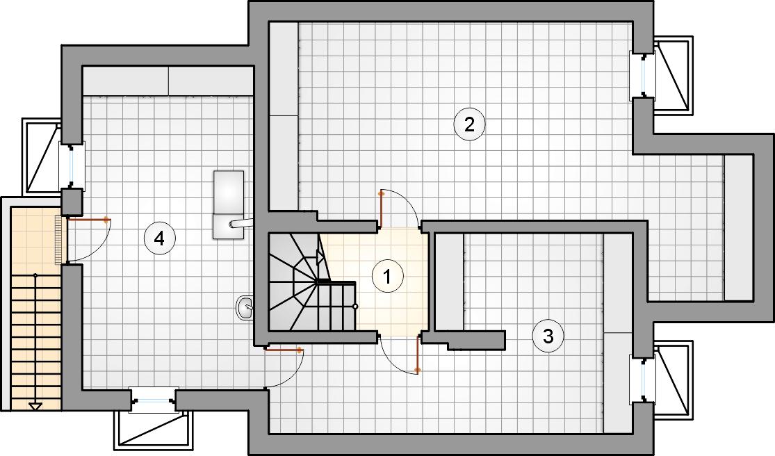 Rzut piwnicy - projekt Smrek IV - wersja lustrzana