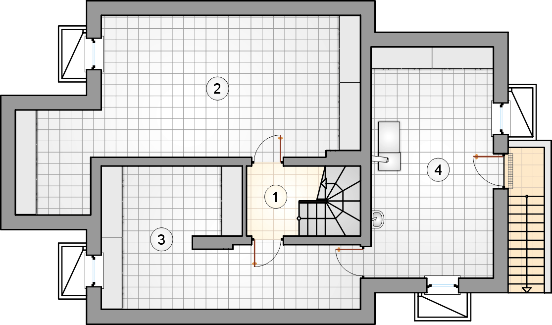 Rzut piwnicy - projekt Smrek IV