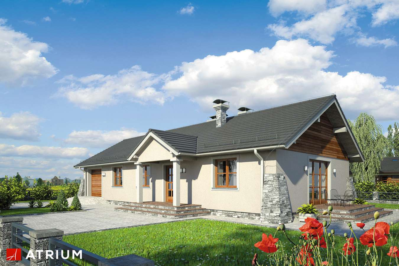 Projekty domów - Projekt domu parterowego BRZASK II - wizualizacja 1