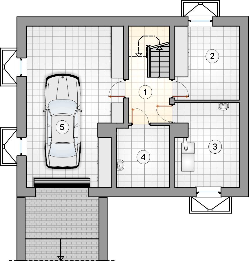 Rzut piwnicy - projekt Zuza - wersja lustrzana