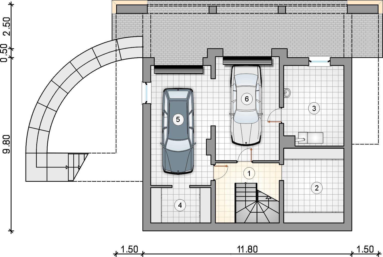 Rzut piwnicy - projekt Watra II