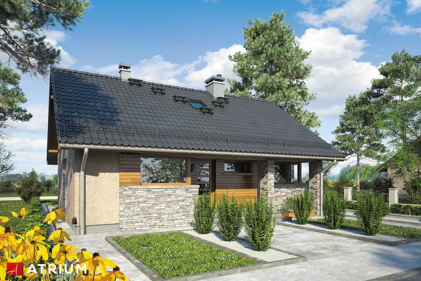 Projekty domów - Projekt domu z poddaszem RICARDO X - wizualizacja 1