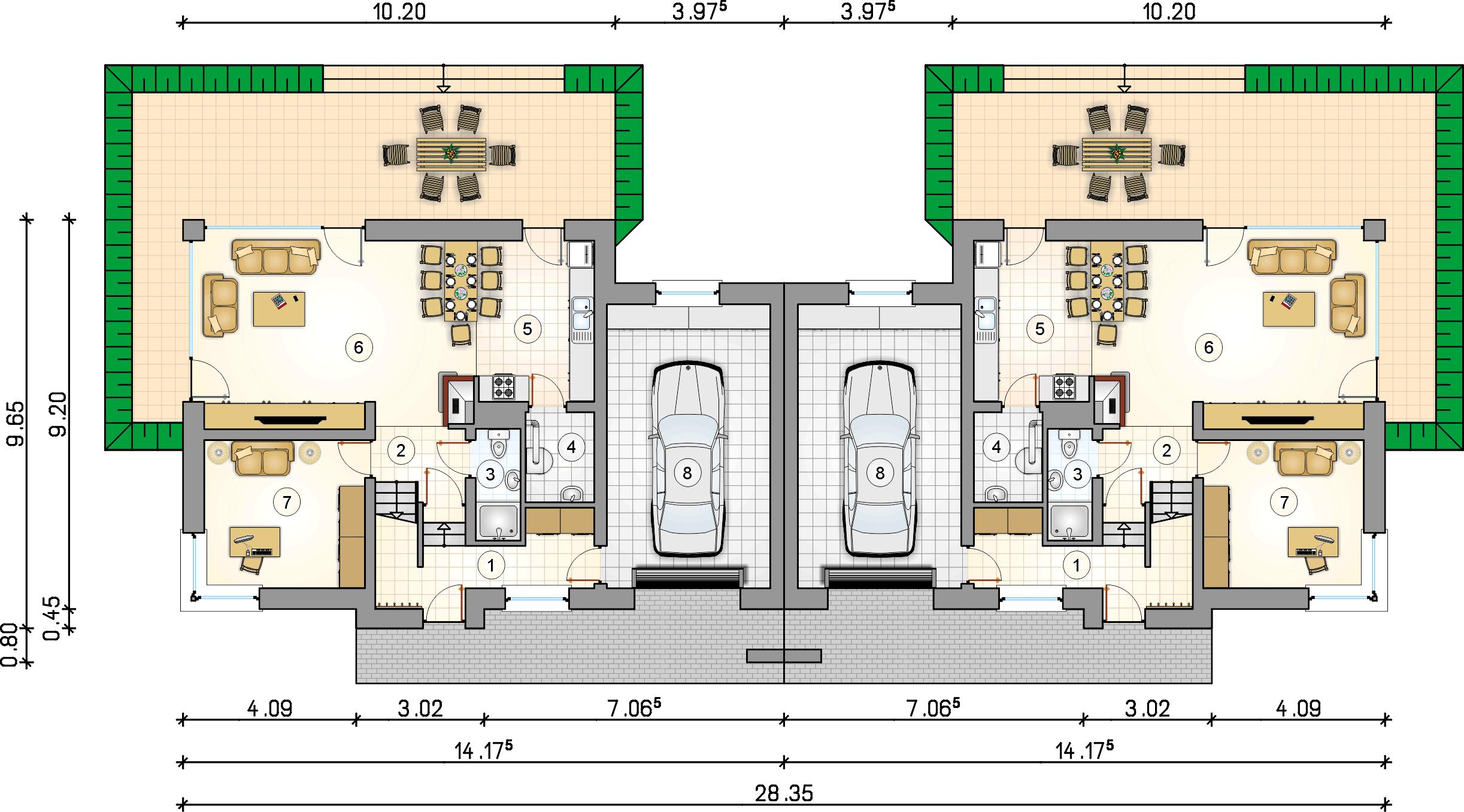 Rzut parteru - projekt Polo Duo II