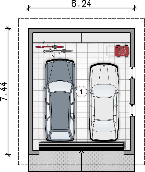 rzut garażu - Garaż Z 42