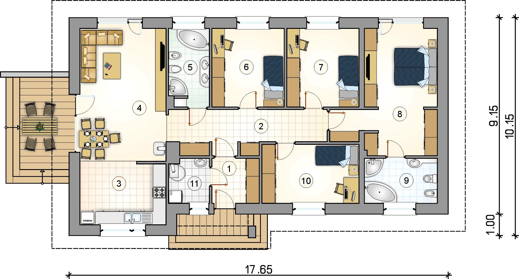 Rzut parteru - projekt Nevada II - wersja lustrzana