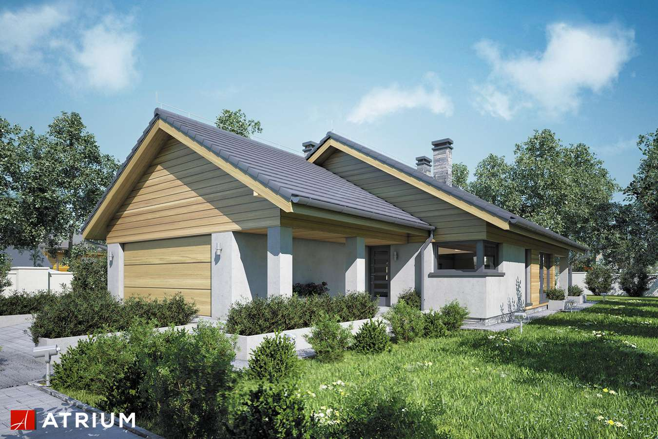 Projekty domów - Projekt domu parterowego IBIS II - wizualizacja 1 - wersja lustrzana