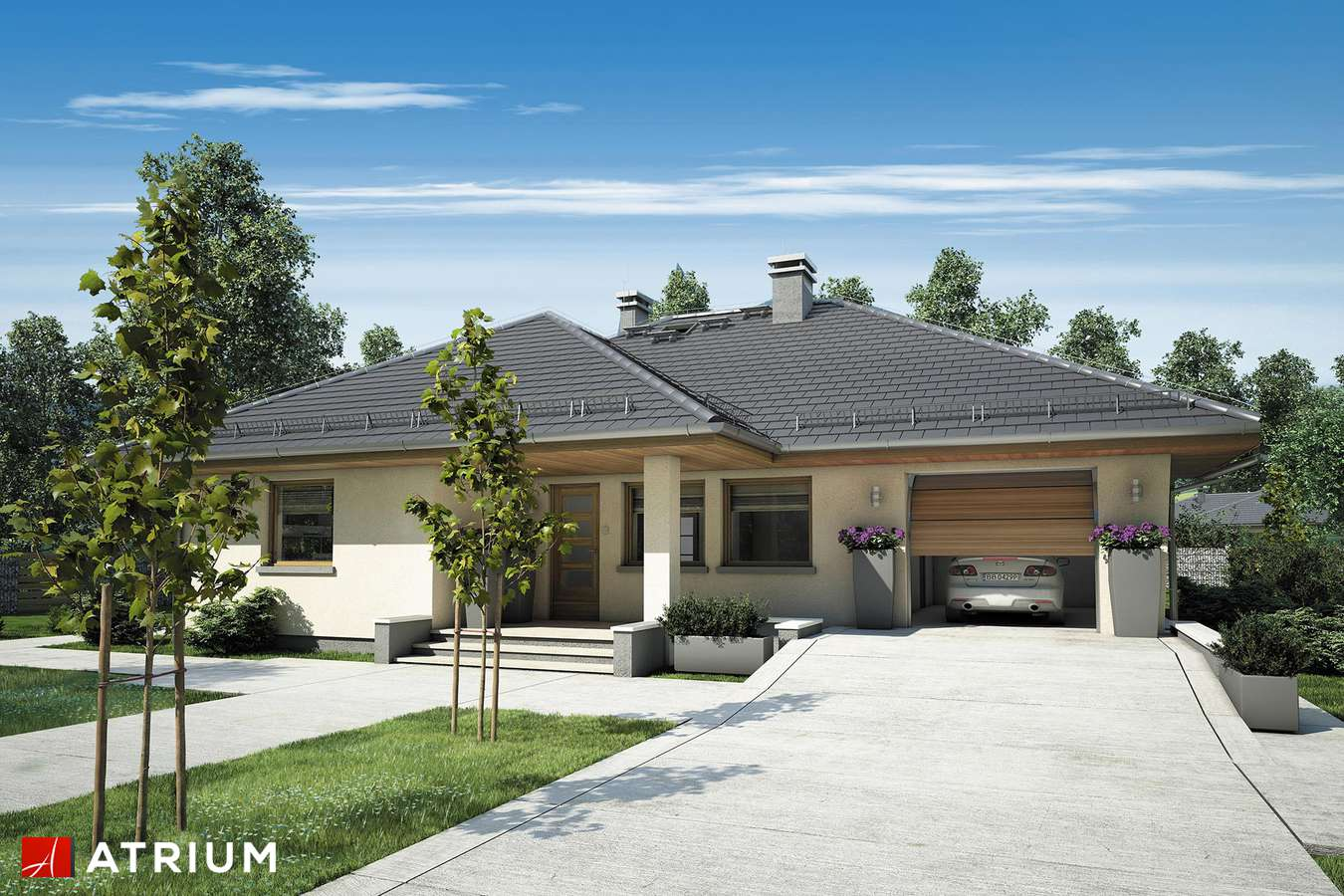 Projekty domów - Projekt domu parterowego SATURN II - wizualizacja 1