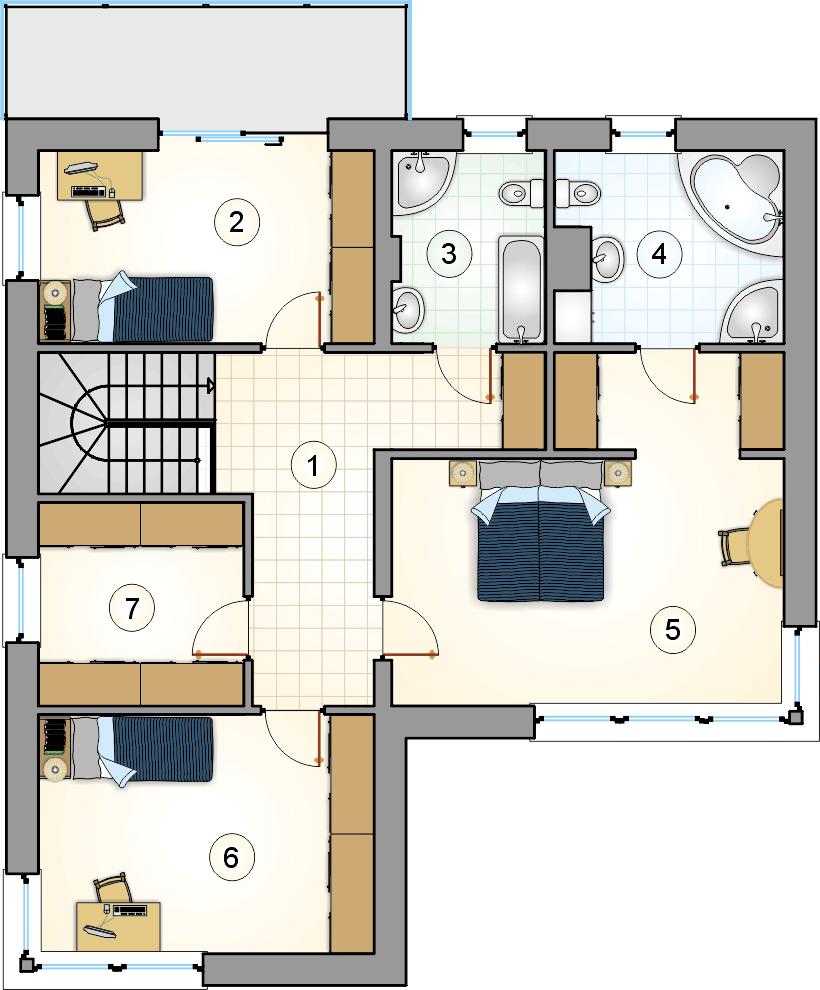 Rzut piętra - projekt Karioka