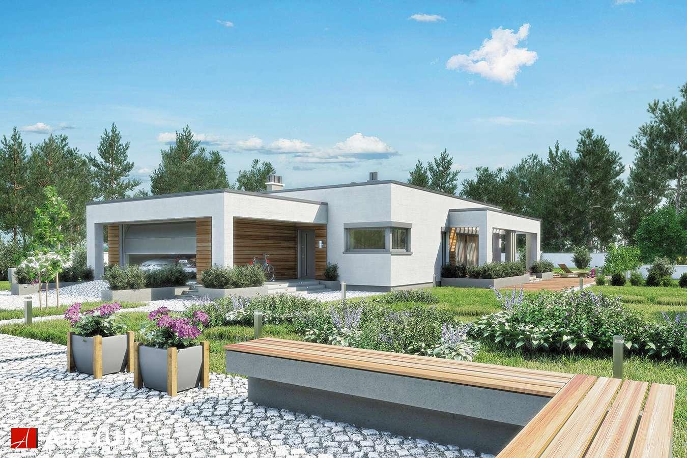 Projekty domów - Projekt domu parterowego SARDYNIA III - wizualizacja 1 - wersja lustrzana