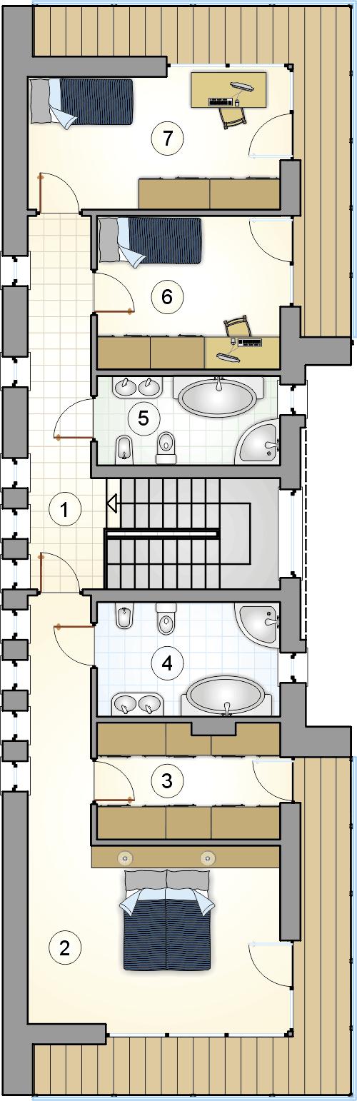 rzut piętra - projekt Modern House