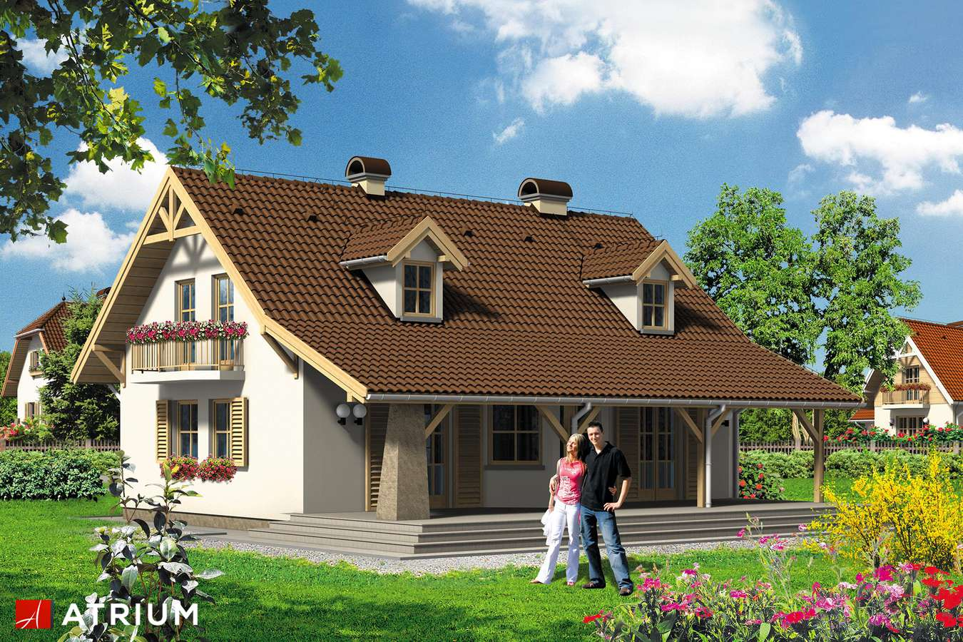 Projekty domów - Projekt domu z poddaszem BIAłY KRUK - wizualizacja 1