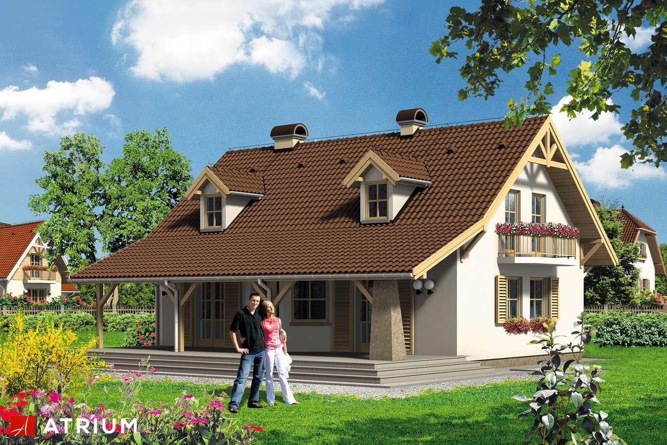 Projekty domów - Projekt domu z poddaszem BIAłY KRUK - wizualizacja 1 - wersja lustrzana