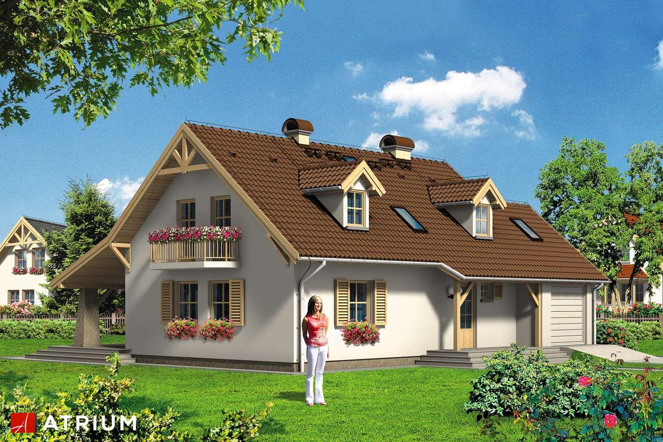Projekty domów - Projekt domu z poddaszem BIAłY KRUK - wizualizacja 2 - wersja lustrzana