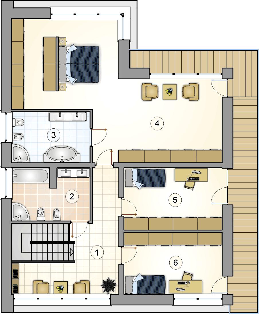 Rzut piętra - projekt New House - wersja lustrzana