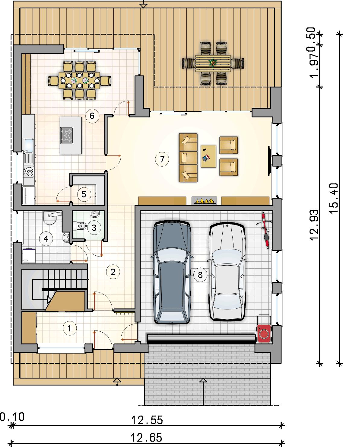 Rzut parteru - projekt New House II - wersja lustrzana