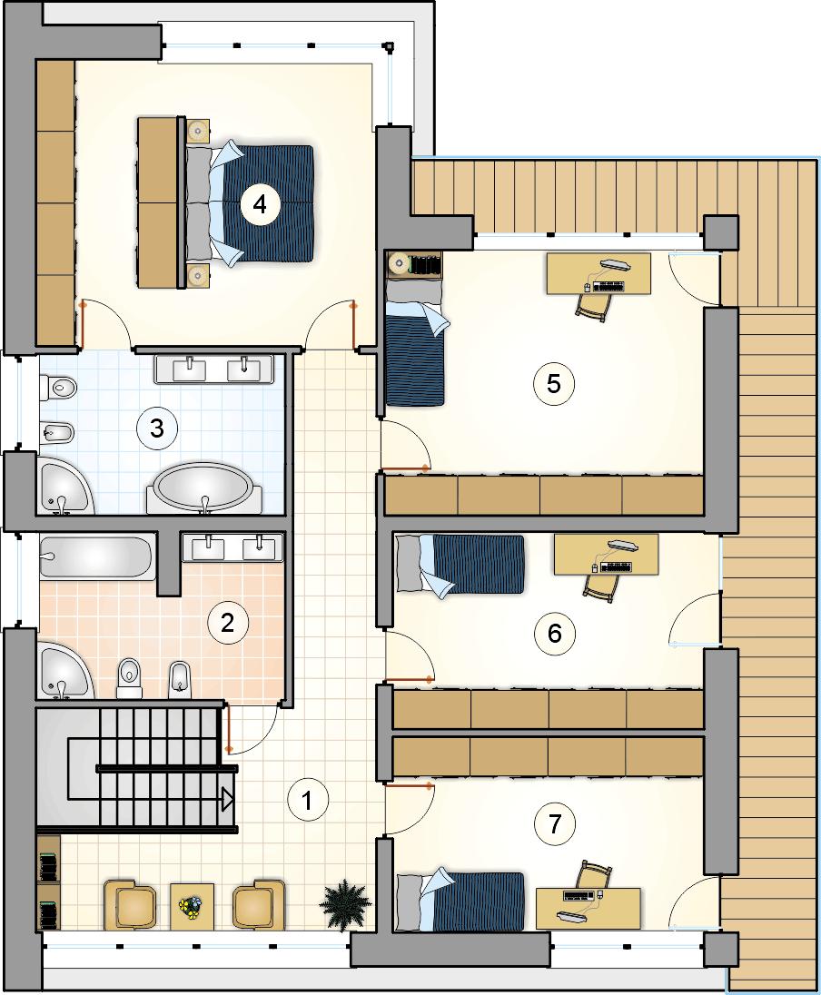 Rzut piętra - projekt New House II - wersja lustrzana