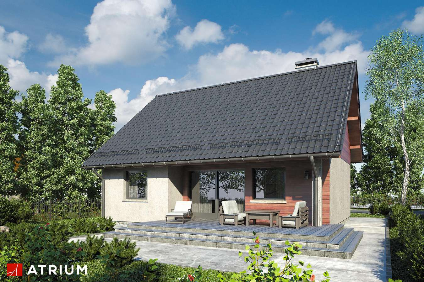 Projekty domów - Projekt domu parterowego REMIK VI - wizualizacja 2
