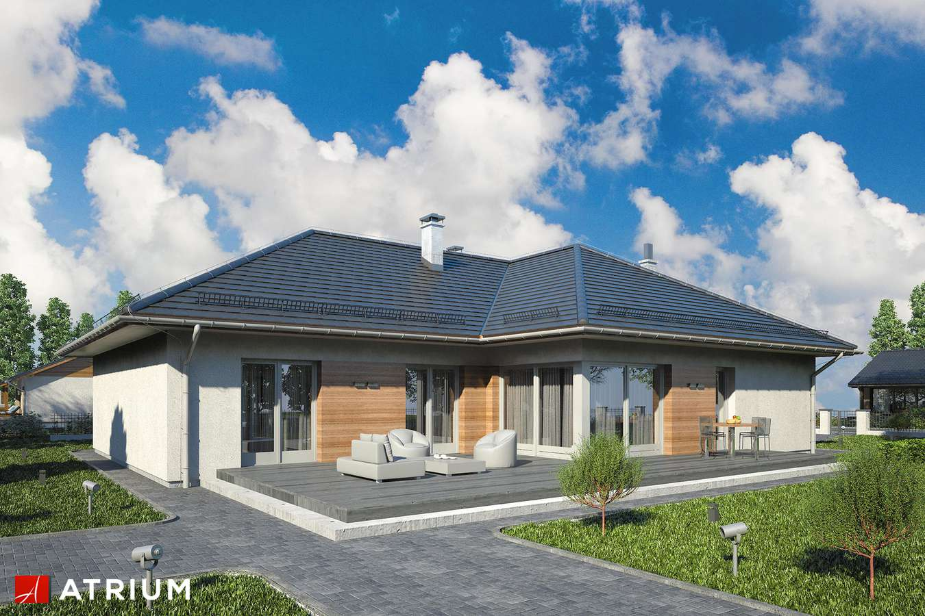 Projekty domów - Projekt domu parterowego WINNER - wizualizacja 1