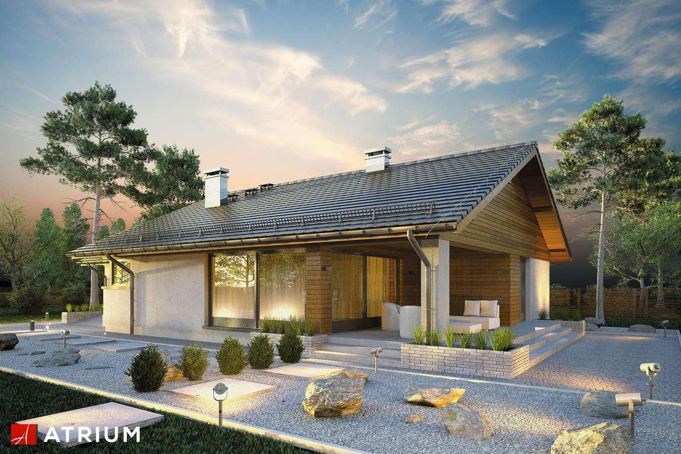 Projekty domów - Projekt domu parterowego KOS - wizualizacja 1 - wersja lustrzana
