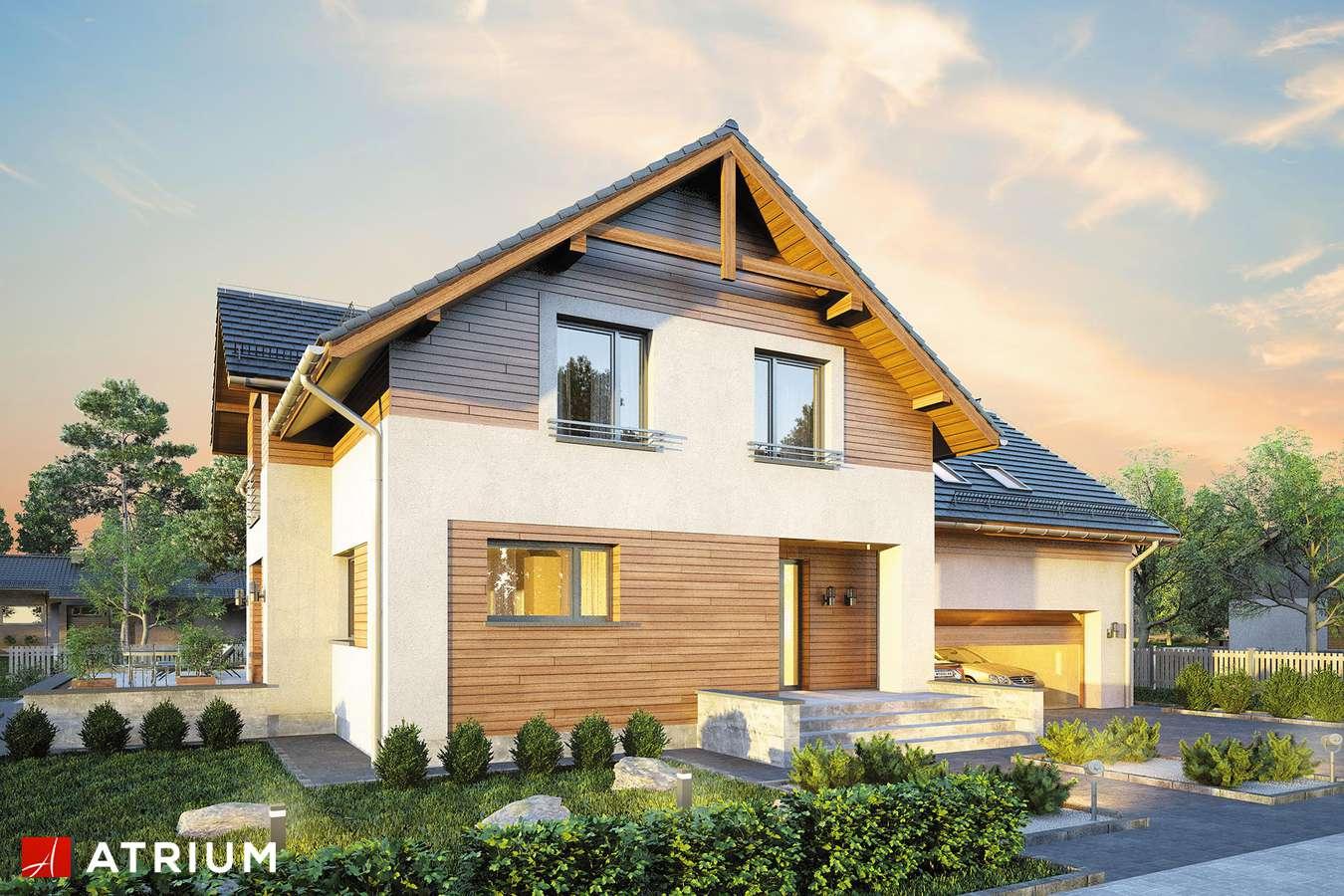 Projekty domów - Projekt domu z poddaszem JUPITER XIV - wizualizacja 1 - wersja lustrzana