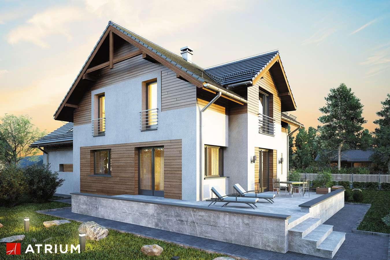 Projekty domów - Projekt domu z poddaszem JUPITER XIV - wizualizacja 2 - wersja lustrzana