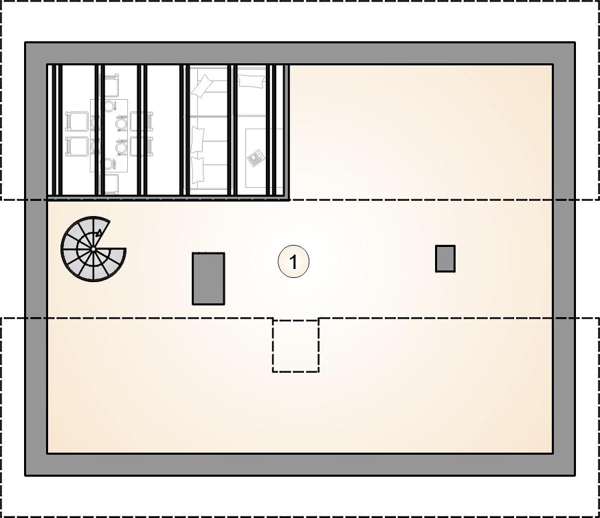 Rzut poddasza - projekt Ricardo X lift - wersja lustrzana