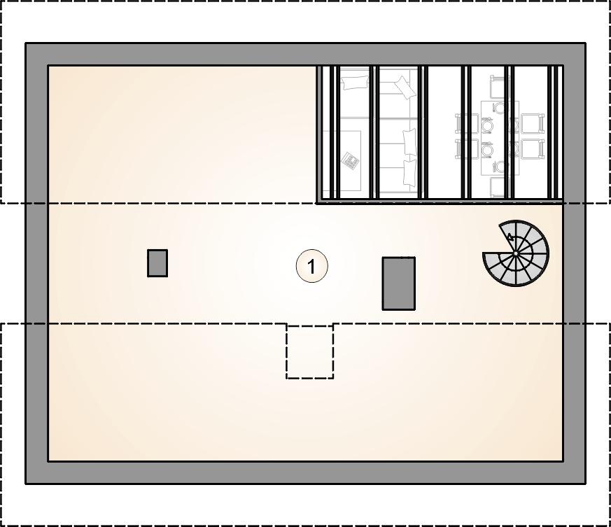 Rzut poddasza - projekt Ricardo X lift