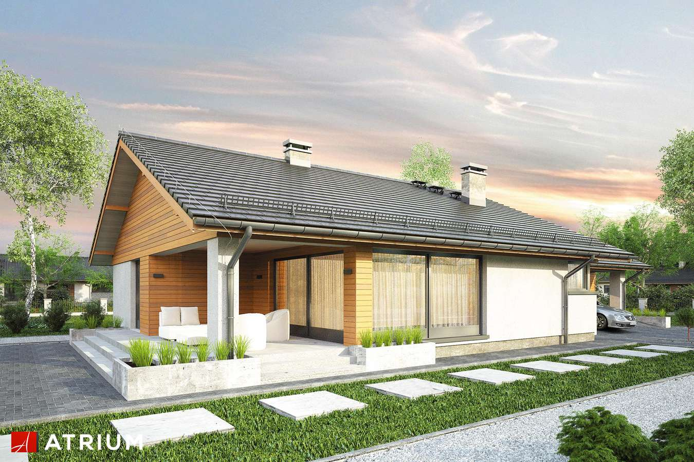 Projekty domów - Projekt domu parterowego KOS II - wizualizacja 2