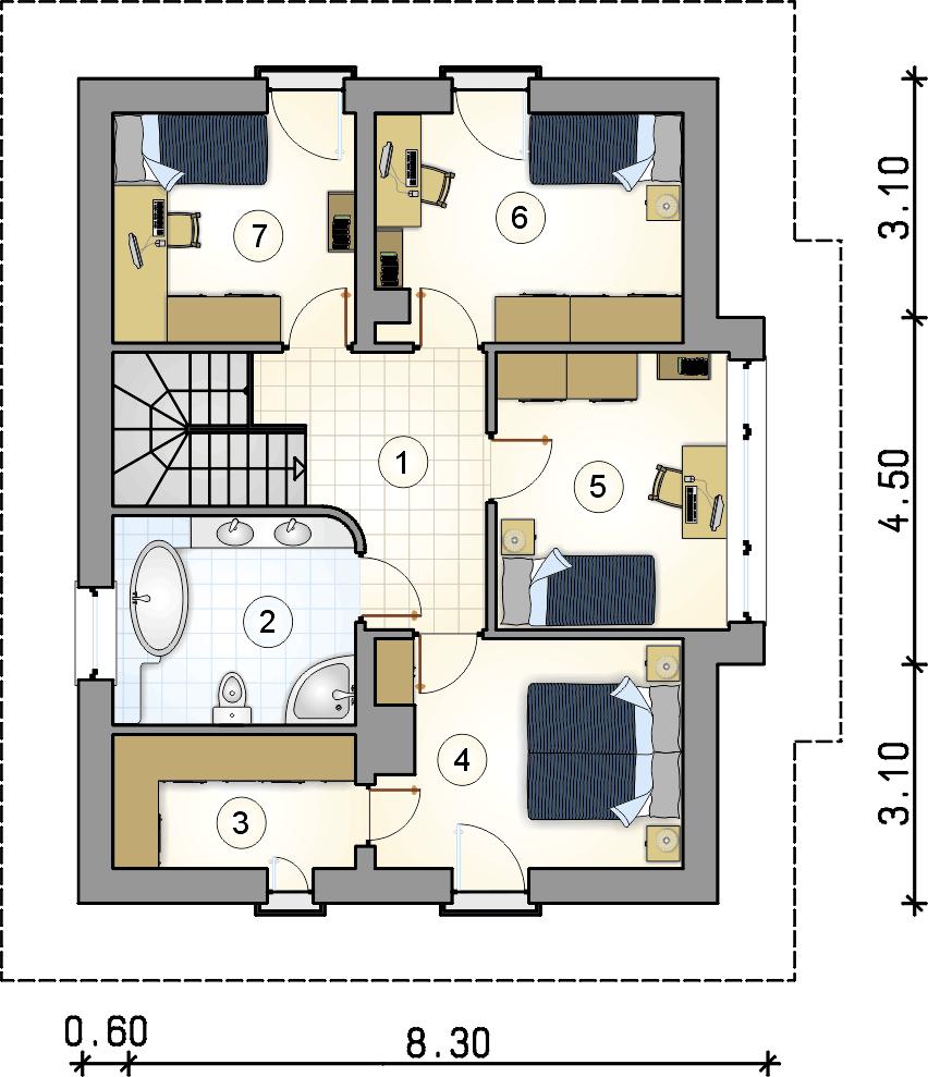 Rzut piętra - projekt Milano V - wersja lustrzana