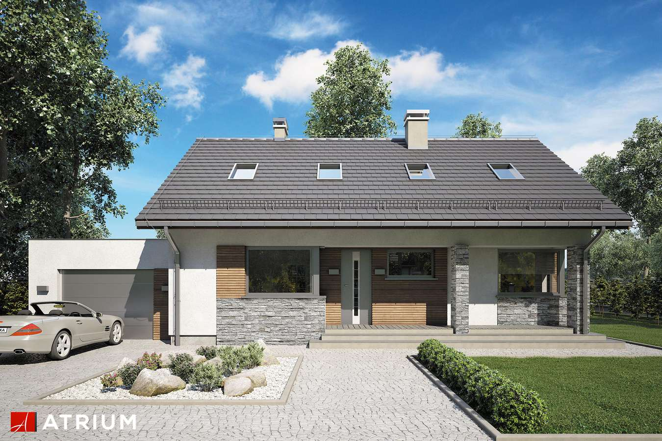 Projekty domów - Projekt domu z poddaszem RICARDO XIV - wizualizacja 1