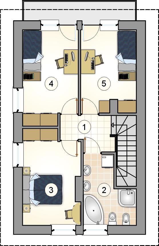 Rzut piętra - projekt Kamyczek II