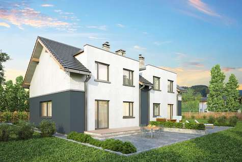 Projekt domu z poddaszem DOUBLE HOUSE - wizualizacja 2