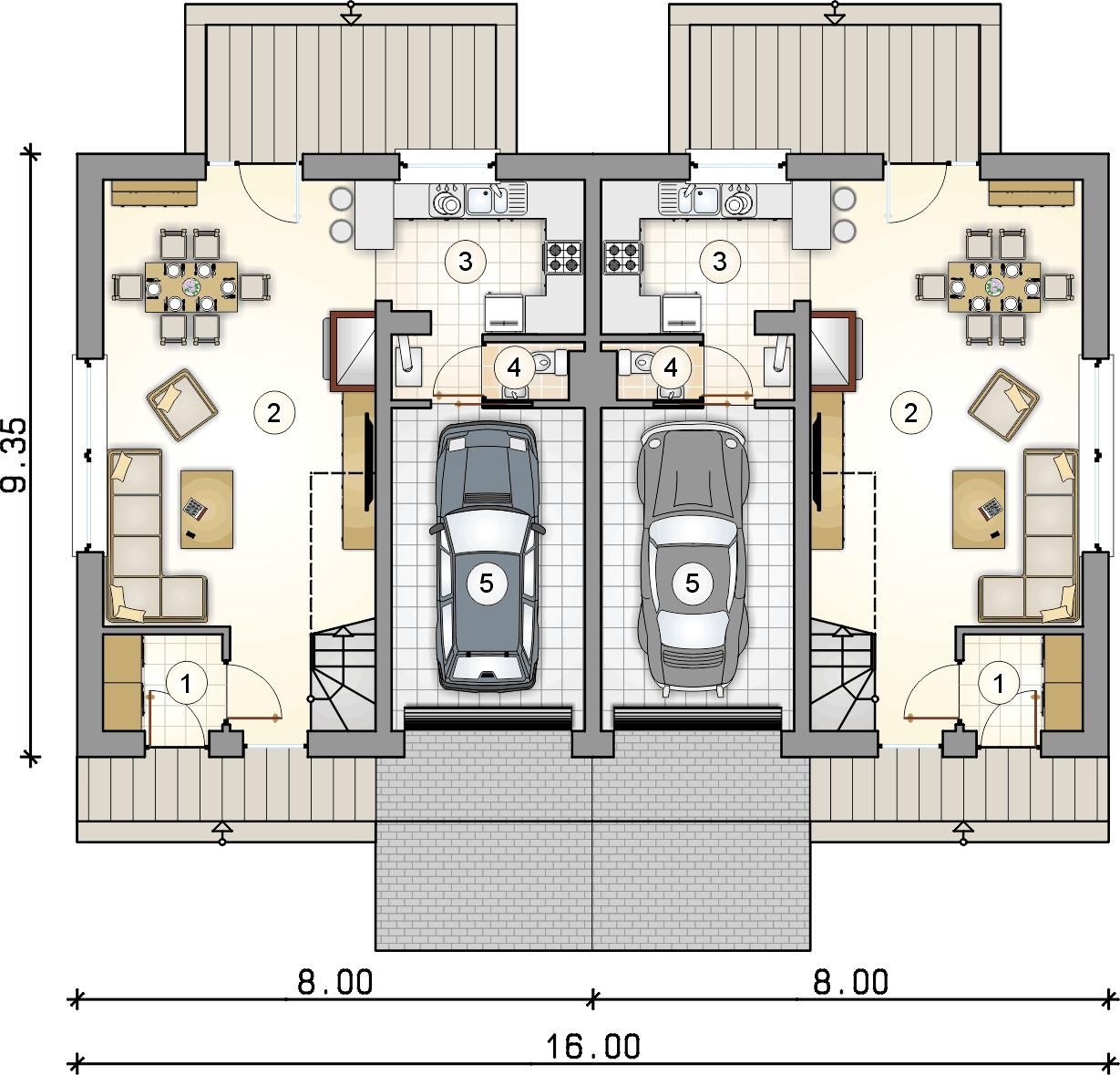 Rzut parteru - projekt Double House