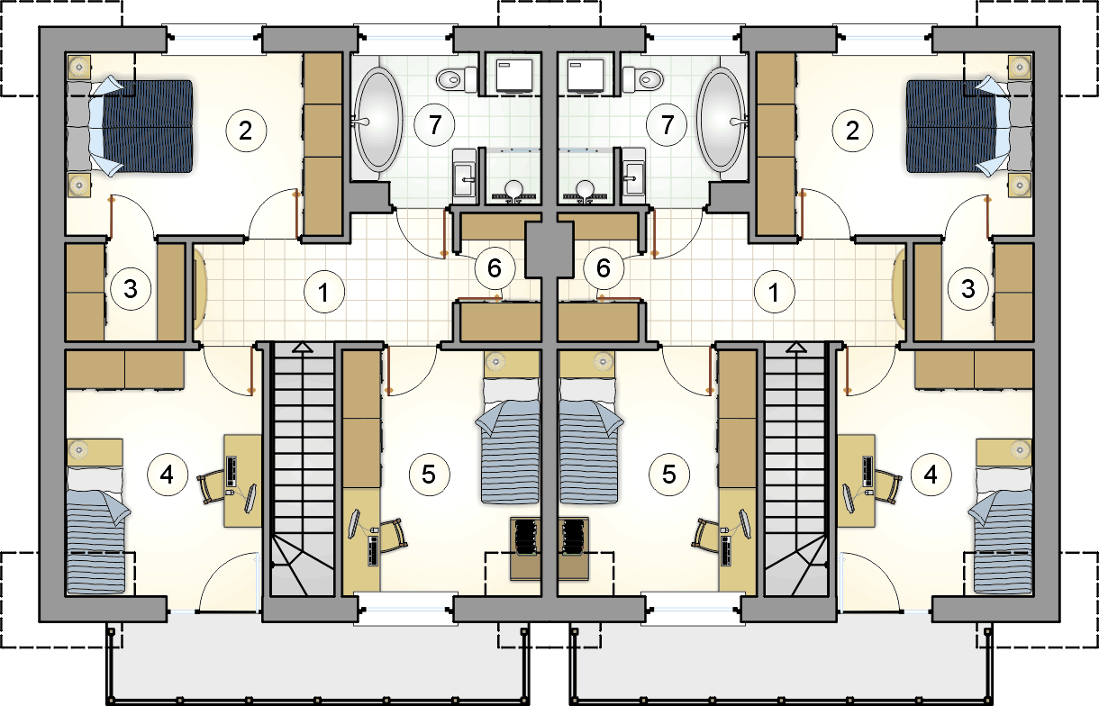 Rzut poddasza - projekt Double House