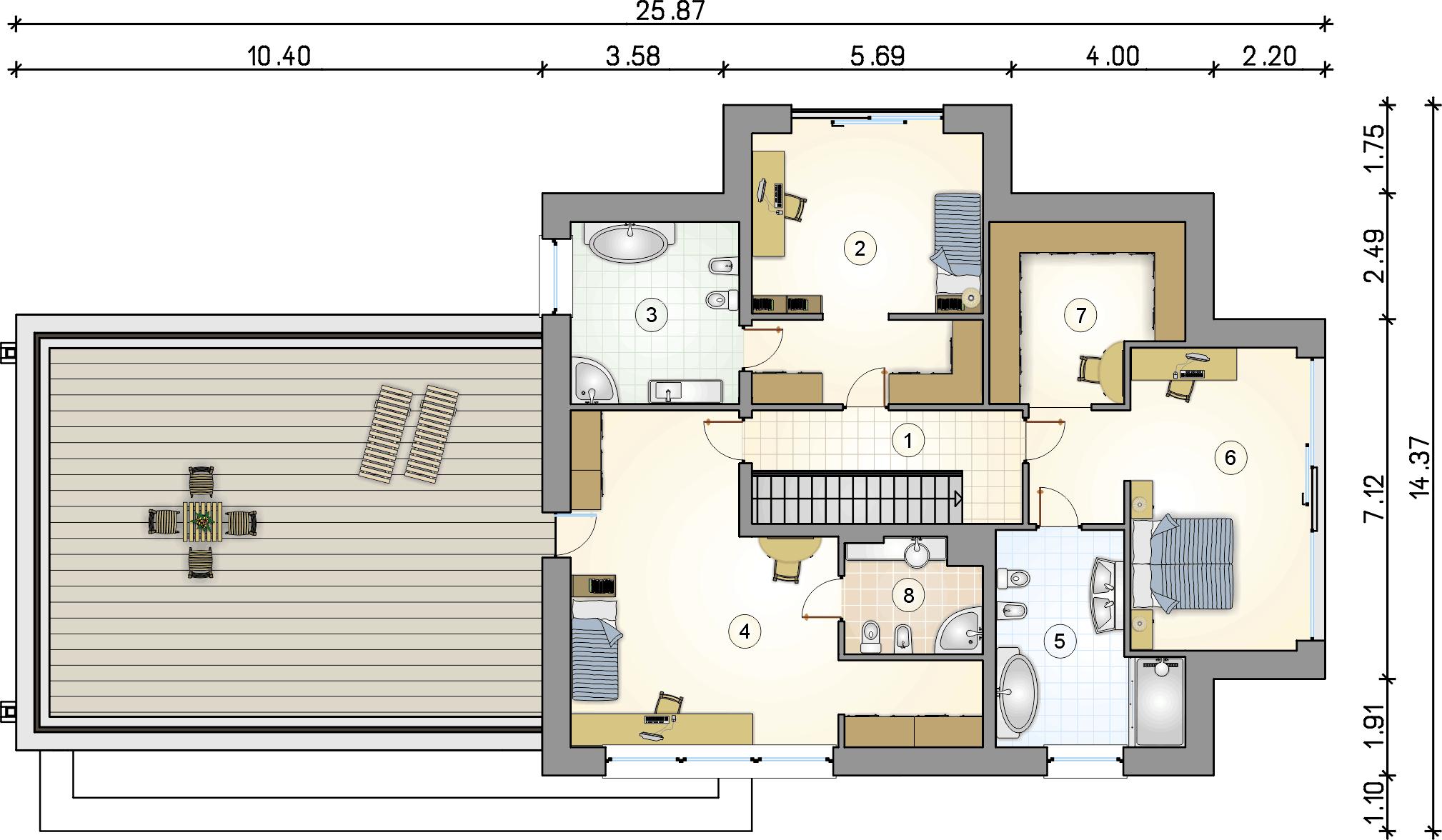 Rzut piętra - projekt Senator IV - wersja lustrzana