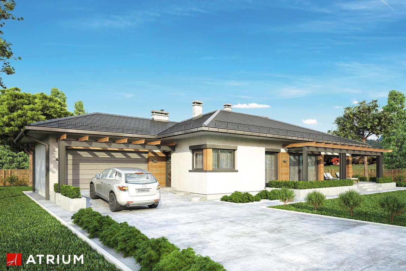 Projekty domów - Projekt domu parterowego MADERA - wizualizacja 1 - wersja lustrzana