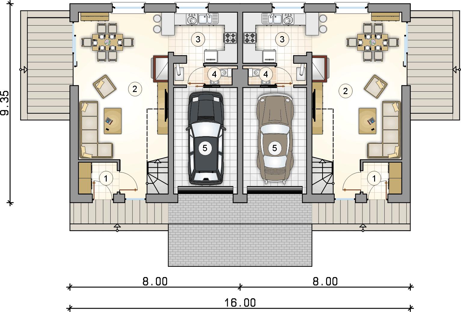 Rzut parteru - projekt Double House II