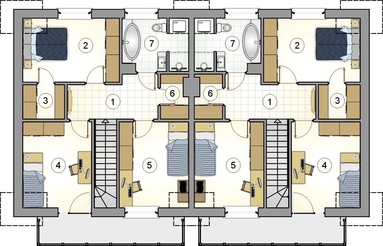 Rzut poddasza - projekt Double House II