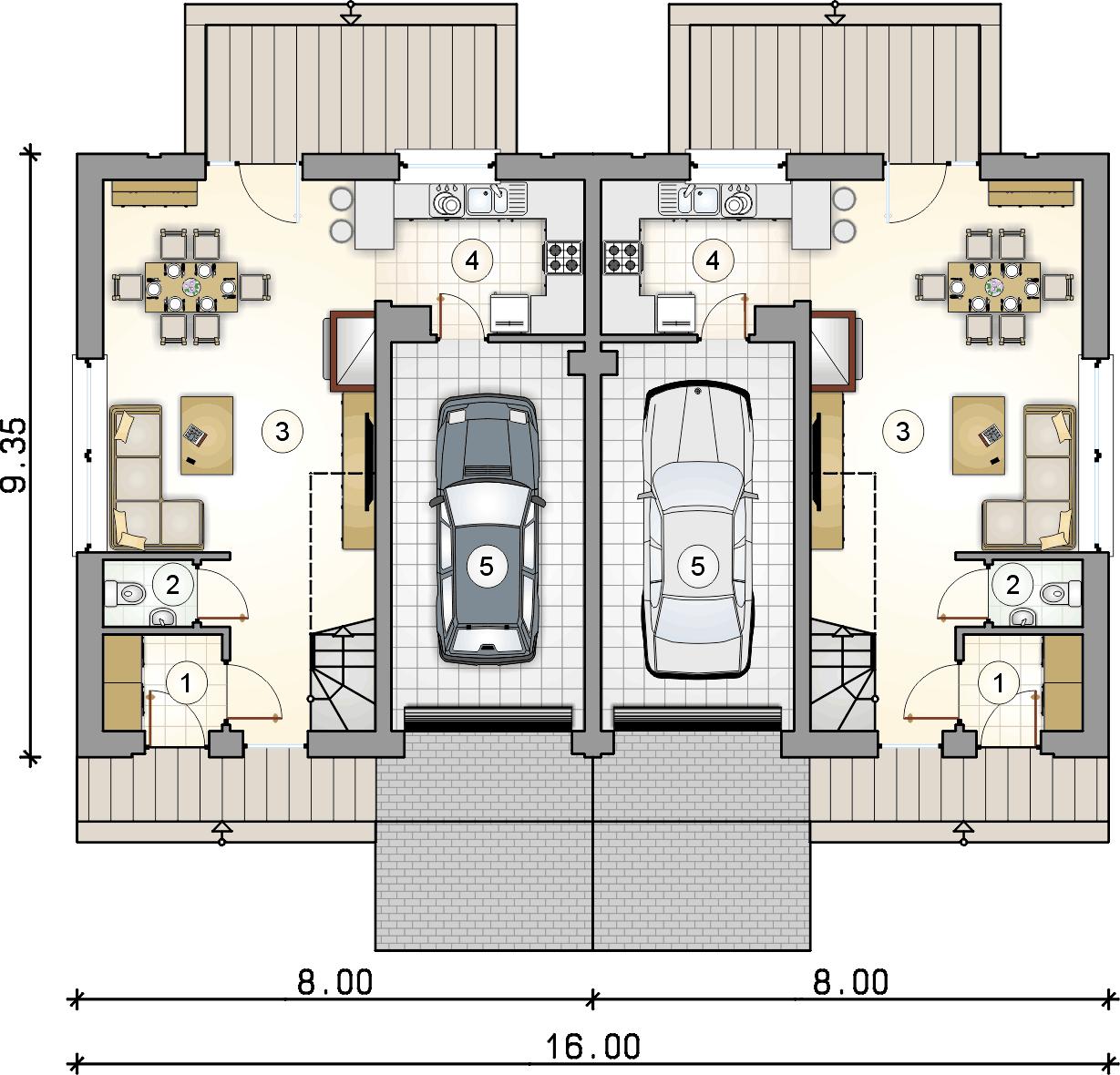 rzut parteru - projekt Double House III