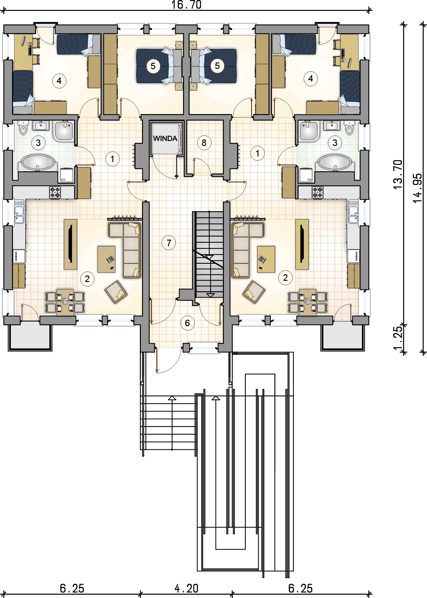 Rzut parteru - projekt Top Dom II