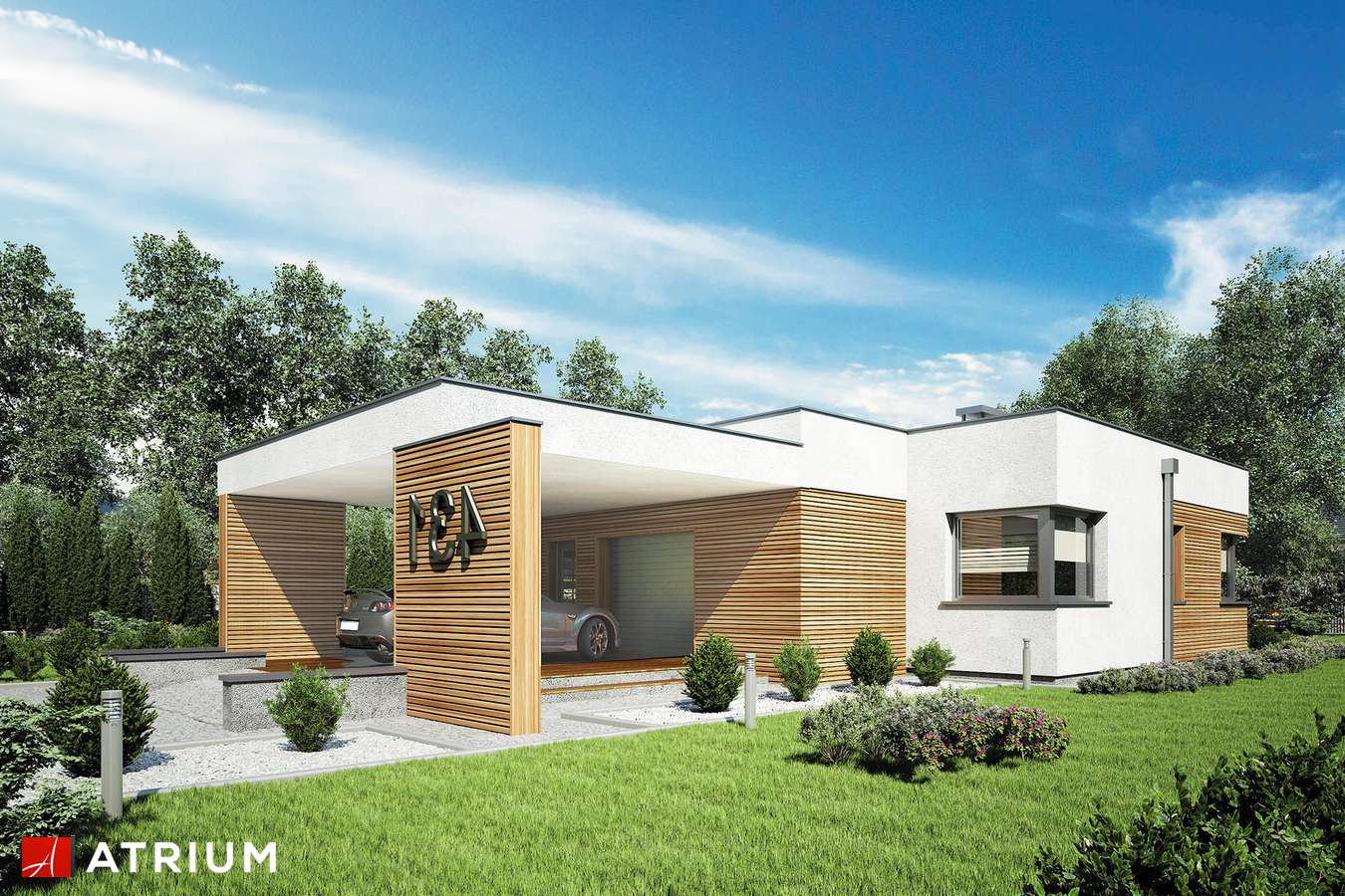 Projekty domów - Projekt domu parterowego IBIZA II - wizualizacja 1 - wersja lustrzana