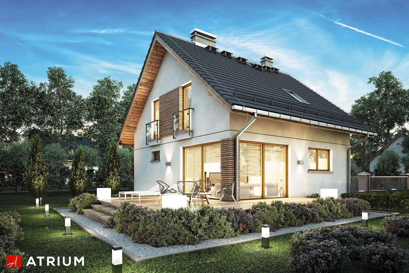 Projekty domów - Projekt domu z poddaszem KONKRET PLUS - wizualizacja 1